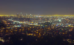 Los Angeles by night. Skyline of Los Angeles at night Royalty Free Stock Images