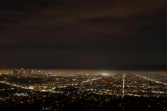 Los Angeles by night stock photography