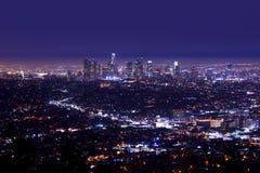 Los Angeles Night Skyline. Aerial Photography. Los Angeles, California royalty free stock photos