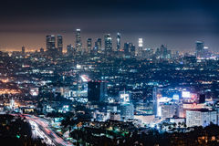 Los Angeles Night Skyline royalty free stock photos