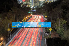 Los Angeles Night Urban cityscape and 110 Freeway. California Royalty Free Stock Photo