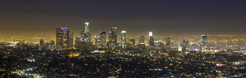 Los Angeles panorama at night 21:9. View of Downtown Los Angeles from the Hollywood Hills Stock Photos