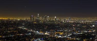 Los Angeles at night. View of Downtown Los Angeles from the Hollywood Hills Stock Photography