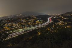 Los Angeles Night View of Glendale Freeway Royalty Free Stock Image