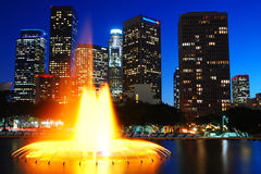 Los Angeles Nights. The lights of Los Angeles brighten the night sky stock photo