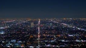 Los Angeles nocą - widok z lotu ptaka od Hollywood wzgórzy zbiory