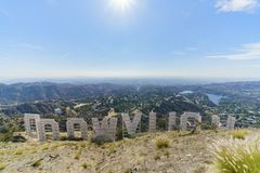 Hollywood sign from back. Los Angeles, NOV 11: Hollywood sign from back on NOV 11, 2017 at Los Angeles, California Stock Photo