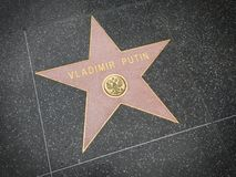 LOS ANGELES NOVEMBER, 14, 2014: Hollywood går av berömmelsestjärnan till världen för den Ryssland presidenten Vladimir Putin mest royaltyfri foto