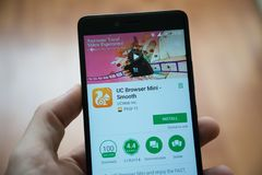 UC Browser mini application in google play store stock photography