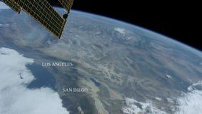 Los Angeles och San Diego som ses från utrymme - några beståndsdelar möblerade vid NASA stock video