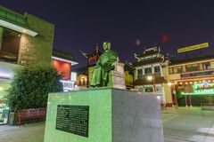 Night view of Dr. Sun Yat-Sen statue in the Chinatown central pl. Los Angeles, OCT 19: Night view of Dr. Sun Yat-Sen statue in the Chinatown central plaza on OCT Royalty Free Stock Photography