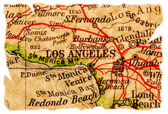 Los Angeles old map. Los Angeles on an old torn map from 1949, isolated. Part of the old map series Stock Photos