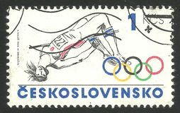 Los Angeles Olympic Games. Czechoslovakia - CIRCA 1980: Stamp printed by Czechoslovakia, Multicolor edition photogravure printing on topic of Los Angeles Olympic Stock Image