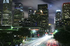 Los Angeles onder het maanlicht Stock Fotografie