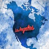 Los Angeles op Artistieke Kaart Stock Fotografie