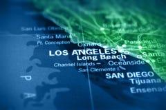 Los Angeles op kaart Royalty-vrije Stock Afbeeldingen
