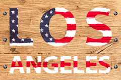 Los Angeles painted with pattern of flag United States old oak w Stock Photo