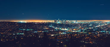 Los Angeles panoramic cityscape at night. With view of downtown LA Stock Photography