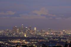 Los Angeles parkerar i stadens centrum horisont från den Getty sikten Royaltyfria Foton