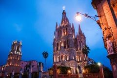 Los Angeles Parroquia sławny różowy kościół w malowniczym miasteczku Obrazy Royalty Free