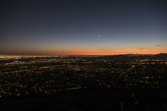 Los Angeles and Pasadena Night. Los Angeles and Pasadena dusk night mountain top view Royalty Free Stock Photo