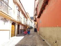 LOS ANGELES PAZ, BOLIWIA, DEC 2018: Los Angeles Paz, Boliwia ulicy w centrum miasta obrazy royalty free