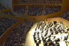 The Los Angeles Philharmonic orchestra performing at the new Disney Concert Hall, designed by Frank Gehry Royalty Free Stock Image