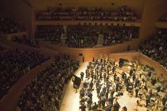 The Los Angeles Philharmonic orchestra performing at the new Disney Concert Hall, designed by Frank Gehry Royalty Free Stock Photography