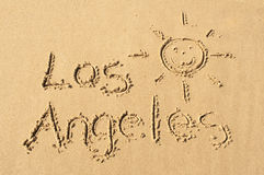Los Angeles. A picture of the words Los Angeles and a sun drawn in the sand Stock Photos