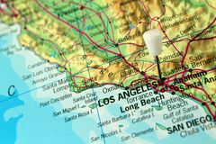 Los Angeles Pin map Stock Photography