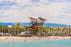 LOS ANGELES PINEDA HISZPANIA, CZERWIEC, - 6, 2017: Linii brzegowej Costa Dorada, plaża w losie angeles Pineda, Tarragona, Catalun Zdjęcie Stock