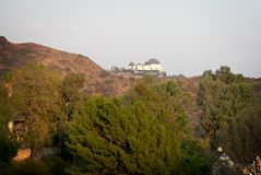 Los Angeles Planetarium. Seen from the Hollywood Sign Stock Image