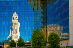 Los Angeles Police Dept headquarters. Reflection of the Los Angeles City Hall at Los Angeles Police Dept Headquarters, Los Angeles, California, USA stock photos