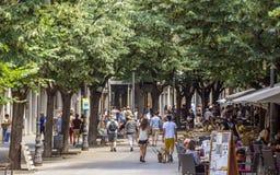 Los Angeles Rambla w Girona, Hiszpania Zdjęcia Royalty Free