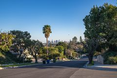 Los Angeles Residential Street with Downtown LA Skyline Stock Photos