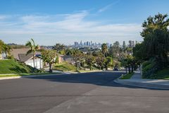 Los Angeles Residential Street with Downtown LA Skyline Stock Images