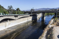 Los Angeles River at 5 Freeway. Los Angeles River at the Golden State 5 Freeway in Southern California Stock Photography
