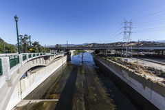 Los Angeles River near Golden State 5 Freeway. Los Angeles River near the Golden State 5 Freeway bridge in Southern California Stock Image