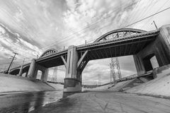 Los Angeles River and Old 6th Street Bridge. Now demolished 6th street bridge and Los Angeles river near downtown LA Stock Photos