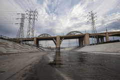 The Los Angeles River and 6th Street Bridge. The Los Angeles River and Historic 6th Street Bridge near downtown Los Angeles Stock Photography