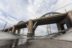 Los Angeles River and 6th Street Bridge Stock Image