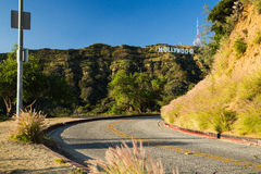 Los angeles road landmark, hollywood sign on mountain. Stock Photography