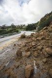 Los Angeles Rockslide Road Block Stock Image