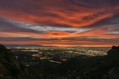 Los Angeles-Rot-Dämmerung lizenzfreies stockbild