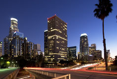 Los Angeles at rush hour. Downtown Los Angeles during rush hour at sunset stock photo