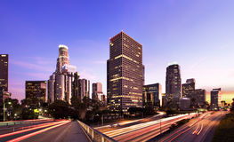 Los Angeles at rush hour. Los Angeles during rush hour at sunset stock photos