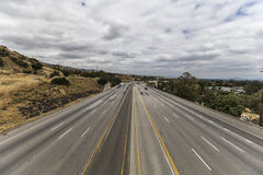 Los Angeles San Fernando Valley Freeway with Motion Blurred Traf Stock Image