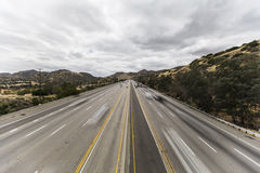 Los Angeles San Fernando Valley Freeway with Motion Blurred Vehi Royalty Free Stock Image