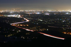 Los Angeles San Fernando Valley Night. Night view of the San Fernando Valley in Los Angeles, California Royalty Free Stock Image