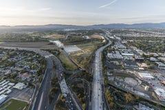 Los Angeles Sepulveda Basin Freeways Aerial Stock Images